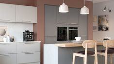 Design the ultimate grey modern kitchen by mixing tones of grey and adding a large kitchen island. Pictured Sutton in Light Grey and Dust Grey by Sigma 3 Kitchens. Home Kitchens, Modern Kitchens, Large Kitchen Island, Kitchen Display, Kitchen Views, Kitchen Collection, Real Style, Modern Kitchen Design, Wood Design