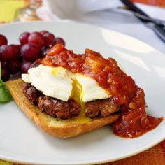 Easy Homemade Chorizo Sausage with an over easy egg and spicy quick tomato compote on fried ciabatta bread. What a fantastic weekend brunch idea, especially if you are having guests over.