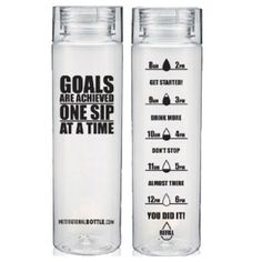 Clear Motivational Water Bottle™ - I don't need another water bottle, but I love the ones on this site.