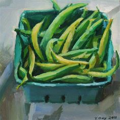 """Daily Paintworks - """"July Bean Harvest"""" - Original Fine Art for Sale - © Taryn Day Fruit And Veg, Fruits And Veggies, Vegetable Drawing, Simple Subject, Watercolor Food, Painting Still Life, Illustrations, Kitchen Art, Art For Sale"""