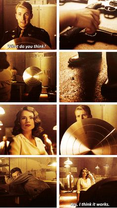 """Yes, I think it works.""  FAVORITE PART!!  Peggy is so mad at Cap, and Stark and Cap are just like, ""What is up with her?"""