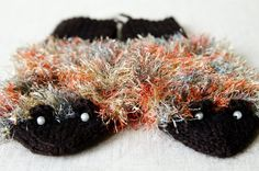 Knitted brown hedgehog gloves by Karitella on Etsy