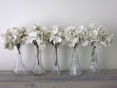 Vintage Clear Glass Bud Vases Set of Five Small   by 22BayRoad, $18.00