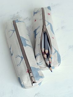 Lovely pencil cases handmade for Peony and Sage in stag all star blue and red linen x