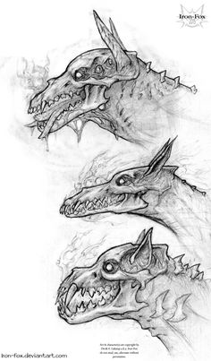 Hellhound Variants by Iron-Fox Fantasy Creatures, Mythical Creatures, Arte Horror, Creepy Art, Creature Concept, Monster Art, Character Design Inspiration, Creature Design, Werewolf