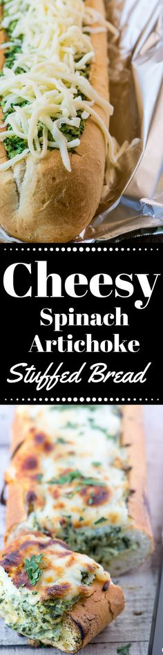 Cheesy Spinach Artichoke Bread is an all-in-one appetizer that everybody loves! ~ theviewfromgreatisland.com
