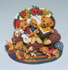 Storytime for teddies- fimo clay art- Manda Theart