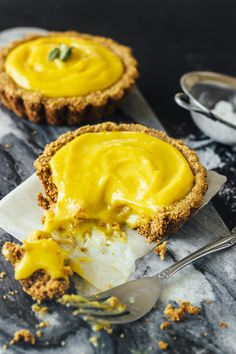 Mango Lassi Greek Yogurt Tarts with Almond Crust by theartfuldeperado #Pastry #Tarts #Mango
