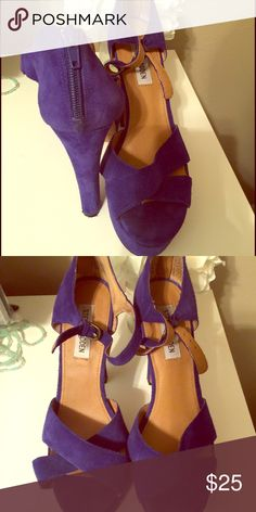 Steve madden blue suede open toe ankle strap heels Steve madden blue suede open toe ankle strap heels. Only worn twice. Buyer responsible for shipping cost. Steve Madden Shoes Heels