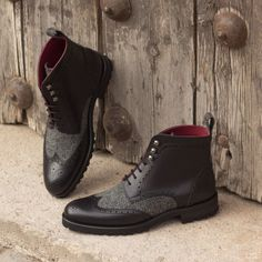 The Women's Military Brogue Boot in Black Painted Calf with Herringbone Ankle Heels, Lace Up Heels, Low Heels, Combat Boots Style, Black Combat Boots, Women's Boots, Gentleman, Custom Design Shoes, Shoe Last