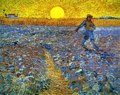 """""""The Sower at Sunset"""" by Vincent van Gogh (1888). Oil on canvas, painted in Arles, France."""