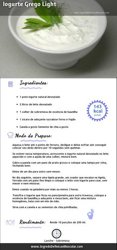 Iogurte Grego Light → http://www.segredodefinicaomuscular.com/iogurte-grego-light-para-voce-fazer-em-casa #IogurteGrego