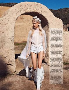 The 'White Escape' Glamour France editorial graces the publication's April 2013 issue