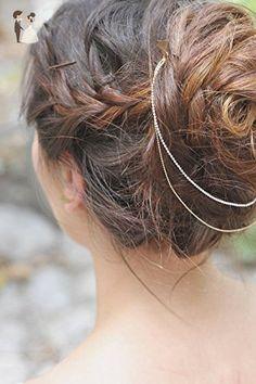 Hair accessories, boho headchain, Boho Hair Piece, Boho Head Chain, Gold Hair Piece, White and gold, Wedding Hair Accessory, Bridal Hairband - Bridal hair accessories (*Amazon Partner-Link)