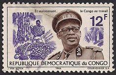 Estampilla Congo, 1966 - Presidente Joseph-Désiré Mobutu y cosecha de plátanos