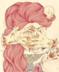 Liz Clements - Illustration - Don't Look At My Crazy Pink Hair, Man Art And Illustration, Liz Clements, Collages, Pop Surrealism, Tattoo Sketches, Erotic Art, Artist Art, Girl Tattoos, Cool Art
