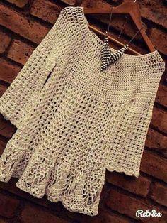 Knitting: crochet dress with mango fibers in lace damen stricken beanie Filet Crochet, Crochet Bolero, Crochet Shirt, Crochet Jacket, Knit Crochet, Knitting Patterns, Crochet Patterns, Knitting Ideas, Mode Crochet
