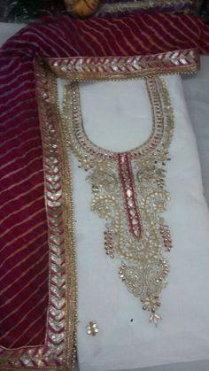 Chanderi Kurti fabric 2.50 meter with gota Patti work with chiffon heavy gota Patti work dupatta No bottom Code HB Price 1950 ...