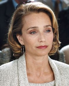 """kristin scott thomas. Love how she is an """"older """" actress who has kept her own face- doesn't  she look lovely?"""