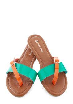 Streaked Sky Sandal in Teal - Blue, Orange, Buckles, Casual, Colorblocking, Flat, Beach/Resort, Variation, Summer, Faux Leather
