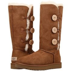 UGG Bailey Button Triplet II (Chestnut) Women's Boots ($220) ❤ liked on Polyvore featuring shoes, boots, mid-calf boots, platform boots, faux-fur boots, ugg australia boots, short heel boots and faux fur shoes