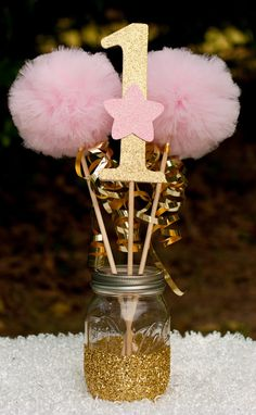 Twinkle Twinkle Little Star Party Pink and Gold Centerpiece Table Decoration