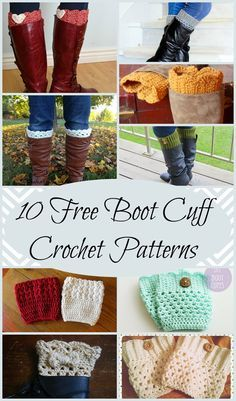 10 Free Boot Cuff Crochet Patterns perfect for a quick and easy Christmas gift!