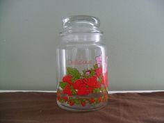 Vintage Strawberry Shortcake Glass Jar by TheRetroRemedy on Etsy, $9.00