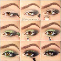 Eyeshadow step by step - bronze eyeshadow Bronze Eyeshadow, Green Eyeshadow, Eyeshadow Looks, Eyeshadow Makeup, Natural Eyeshadow, Colorful Eyeshadow, Makeup Brush, Eye Makeup Steps, Smokey Eye Makeup