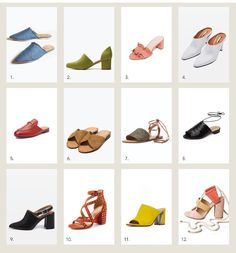 style me wants : spring shoes - the perfect array of mules, sandals, and chunky heels.
