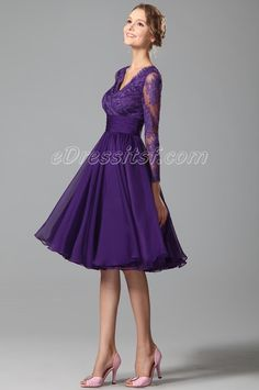 1cd01517a0b New Purple Cocktail Dress Party Dress With Long Lace Sleeves
