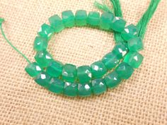 AAA Fine Green Onyx Faceted 3D Cube Beads strand 8 by gemsgemsn