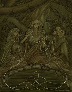 The Norns, rulers of the destiny of gods and menThis piece will appear on the back cover of The Illuminated Edda. Ink, watercolour, ps. [Facebook • DeviantArt • Blogspot] © Nataša Ilinčić, please do...