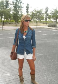 cute sumer outfit jean shirt white shorts