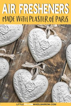 These homemade DIY air fresheners are an easy craft project that anyone can do.   Perfect to add a touch of freshness to any closet or dresser drawer.  These also make a perfect handmade gift to give away during the holidays!  #fresh #handmadegifts #plaster #crafts #diyprojects