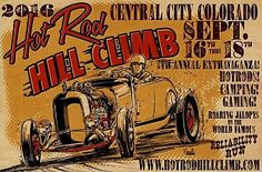 """In 1953, a group of hotrodders held the first """"Hot Rod Hill Climb"""" on Guanella Pass above Georgetown, Colorado.  63 years later, beginning on Saturday, September 16 and concluding on Sunday, September 18, they're doing it again in Central City, Colorado. A record turnout is expected, and a stunning array of classic American iron will be on display and in action on the mountain roads at the event.  #HodRodHillClimb #Colorado"""
