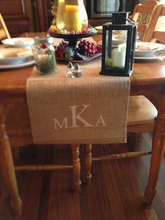 Burlap Table Runner  12 & 14 wide Monogram  by CreativePlaces, $17.00
