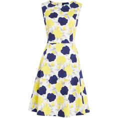 Dickins & Jones Floral Fit and Flare Dress featuring polyvore, women's fashion, clothing, dresses, women, floral dress, white cotton dress, sleeveless cotton dress, sleeveless fit and flare dress and white fit and flare dress