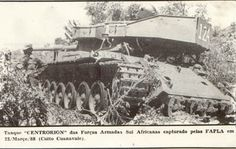 """A South African """"Elephant"""" MBT after being captured by Angolan and Cuban forces in March Defence Force, Battle Tank, African Elephant, Modern Warfare, Panzer, African History, Armored Vehicles, Special Forces, Military History"""