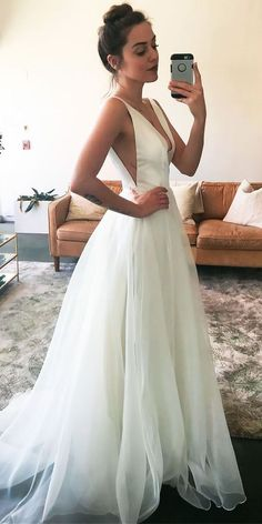 33 Simple Wedding Dresses For Elegant Brides ❤️ See more: http://www.weddingforward.com/simple-wedding-dresses/ #wedding #weddingdress
