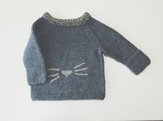 Hand Knit Denim Blue Baby Sweater with Kitty Nose and Whiskers / Knit Baby Pullover Sweater / Knitted Baby Sweaters / Heirloom Baby Knitwear