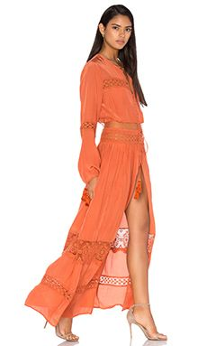 Tessora Cut Out Lace Maxi Dress in Rust