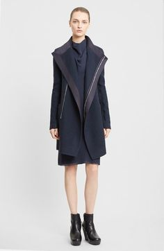 Rick Owens Funnel Neck Wool Coat available at #Nordstrom