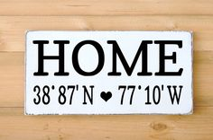 Personalized Home Longitude Latitude Wood Sign GPS – Signs Of Love - Carova Beach