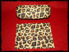 Leopard print Eyeglass case hard shell with cleaning by ClownLaugh