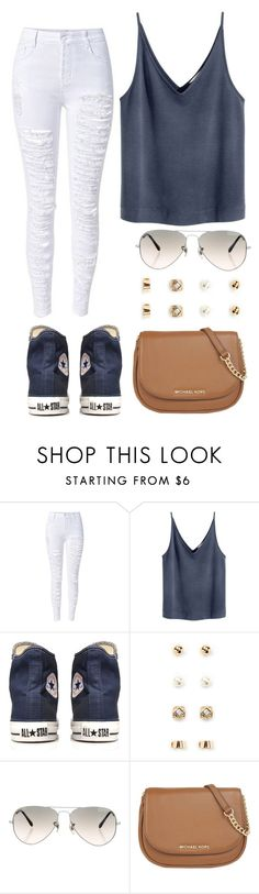 """""""Simple but cute."""" by madisonpeters00 on Polyvore featuring Converse, Forever 21, Ray-Ban and MICHAEL Michael Kors"""