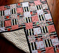 Baby quilt ~ girl quilt ~ blanket ~ crib quilt ~ nursery quilt ~ flamingo ~ floral ~ pink ~ coral ~ gold ~ black ~ mint ~ geometric.  Birch Tree Bundles