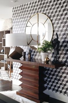 Amazing entryway with black and white geometeric wallpaper. Seattle Showhouse. Interior design by Decorist with ATGstores.com and Porch. Click to see more of the house on House Of Hipsters blog.
