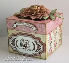 Designs by Marisa: JustRite Papercraft February Release - Home Bakery Labels Clear Stamps Altered Boxes, Altered Art, Exploding Box Card, Gift Wrap Box, Anemone Flower, Home Bakery, Types Of Cakes, Birthday Cake Decorating, Pretty Box