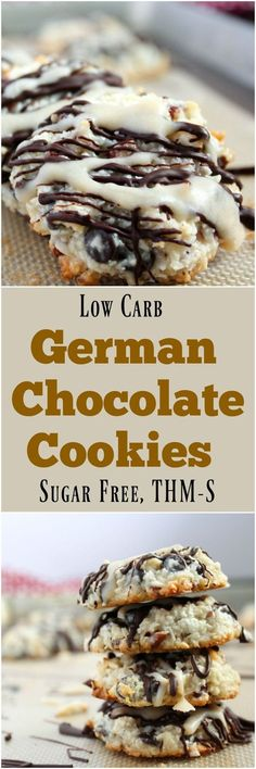German Chocolate Cookies (Low Carb, Sugar Free, THM-S)
